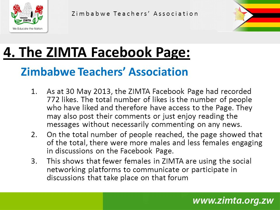 4. The ZIMTA Facebook Page: Zimbabwe Teachers' Association 1.As at 30 May 2013, the ZIMTA Facebook Page had recorded 772 likes. The total number of li