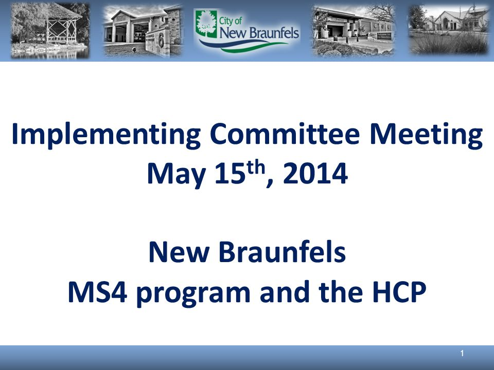 Implementing Committee Meeting May 15 th, 2014 New Braunfels MS4 program and the HCP 1