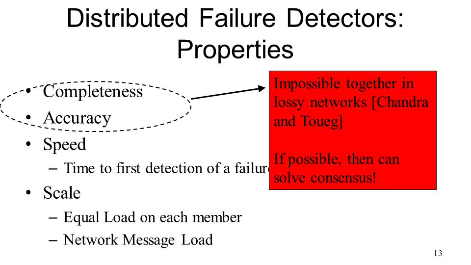 13 Distributed Failure Detectors: Properties Completeness Accuracy Speed – Time to first detection of a failure Scale – Equal Load on each member – Network Message Load Impossible together in lossy networks [Chandra and Toueg] If possible, then can solve consensus!