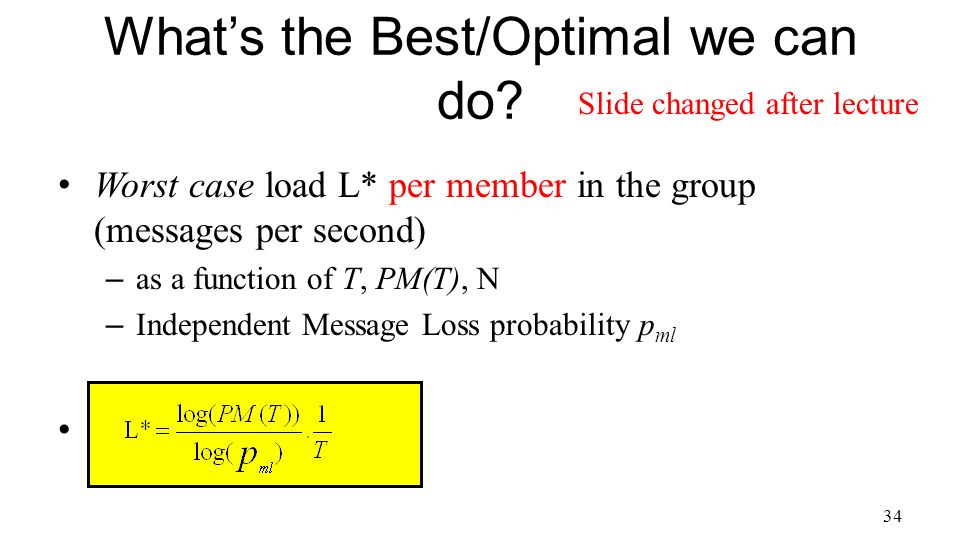 Worst case load L* per member in the group (messages per second) – as a function of T, PM(T), N – Independent Message Loss probability p ml 34 What's the Best/Optimal we can do.