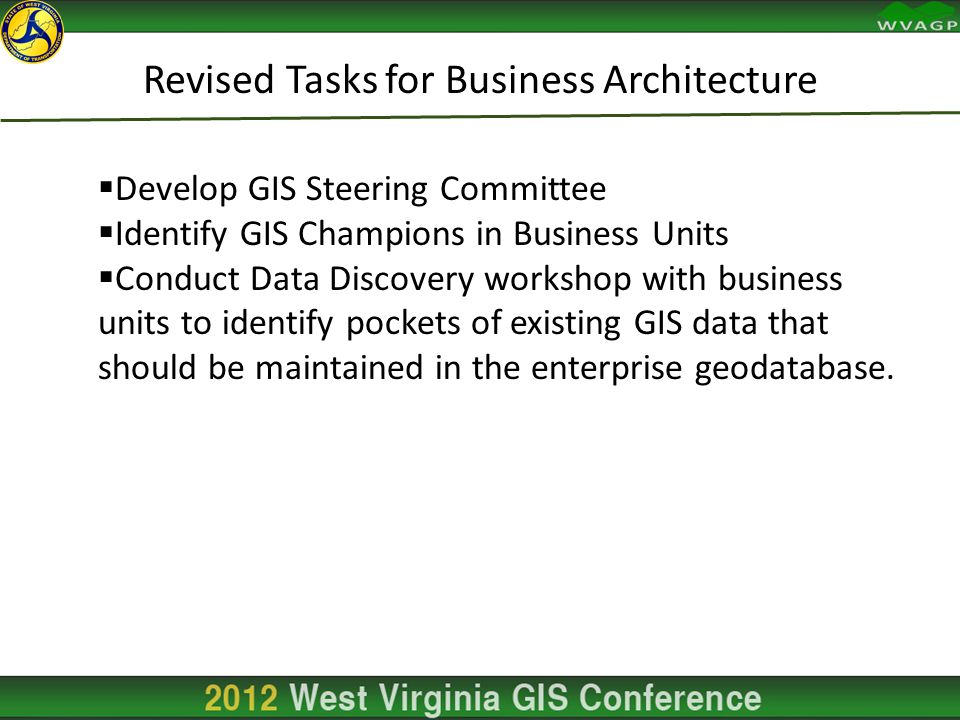 Revised Tasks for Business Architecture  Develop GIS Steering Committee  Identify GIS Champions in Business Units  Conduct Data Discovery workshop with business units to identify pockets of existing GIS data that should be maintained in the enterprise geodatabase.