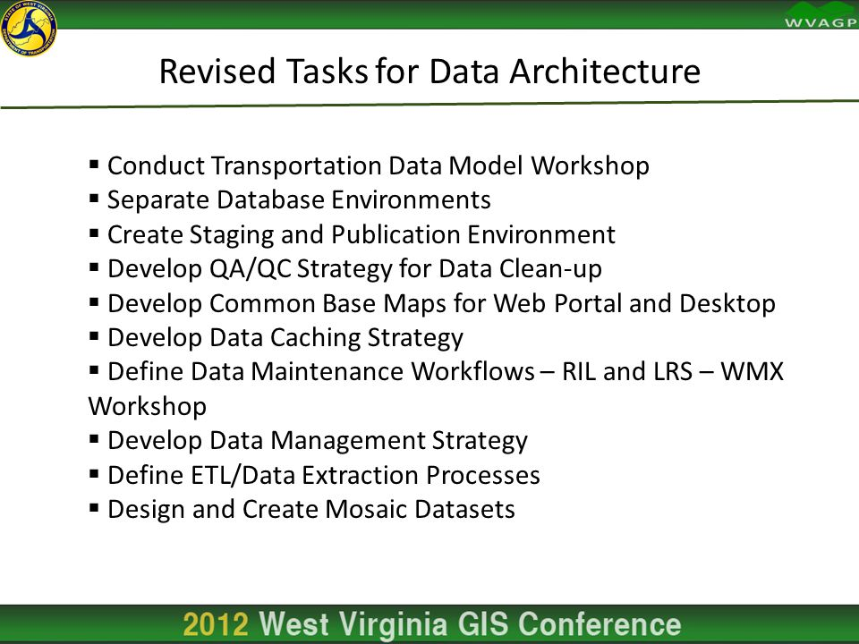 Revised Tasks for Data Architecture  Conduct Transportation Data Model Workshop  Separate Database Environments  Create Staging and Publication Environment  Develop QA/QC Strategy for Data Clean-up  Develop Common Base Maps for Web Portal and Desktop  Develop Data Caching Strategy  Define Data Maintenance Workflows – RIL and LRS – WMX Workshop  Develop Data Management Strategy  Define ETL/Data Extraction Processes  Design and Create Mosaic Datasets