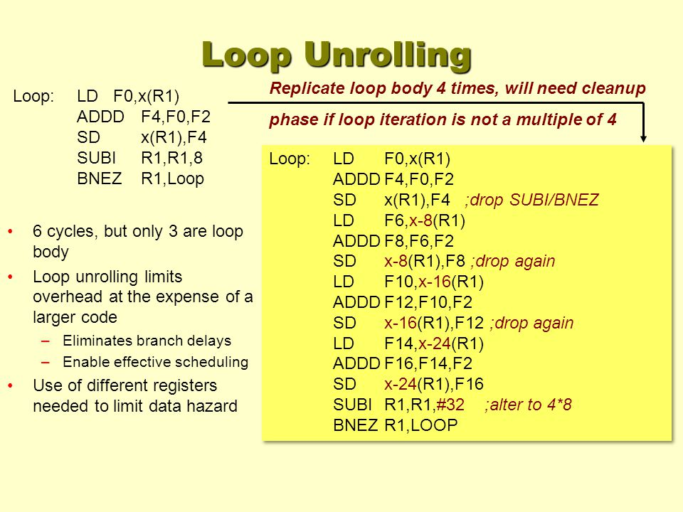 Loop:LDF0,x(R1) ADDDF4,F0,F2 SDx(R1),F4 ;drop SUBI/BNEZ LDF6,x-8(R1) ADDDF8,F6,F2 SDx-8(R1),F8 ;drop again LDF10,x-16(R1) ADDDF12,F10,F2 SDx-16(R1),F12 ;drop again LDF14,x-24(R1) ADDDF16,F14,F2 SDx-24(R1),F16 SUBIR1,R1,#32 ;alter to 4*8 BNEZR1,LOOP Loop:LDF0,x(R1) ADDDF4,F0,F2 SDx(R1),F4 ;drop SUBI/BNEZ LDF6,x-8(R1) ADDDF8,F6,F2 SDx-8(R1),F8 ;drop again LDF10,x-16(R1) ADDDF12,F10,F2 SDx-16(R1),F12 ;drop again LDF14,x-24(R1) ADDDF16,F14,F2 SDx-24(R1),F16 SUBIR1,R1,#32 ;alter to 4*8 BNEZR1,LOOP Loop:LD F0,x(R1) ADDDF4,F0,F2 SDx(R1),F4 SUBIR1,R1,8 BNEZR1,Loop Replicate loop body 4 times, will need cleanup phase if loop iteration is not a multiple of 4 Loop Unrolling 6 cycles, but only 3 are loop body Loop unrolling limits overhead at the expense of a larger code –Eliminates branch delays –Enable effective scheduling Use of different registers needed to limit data hazard