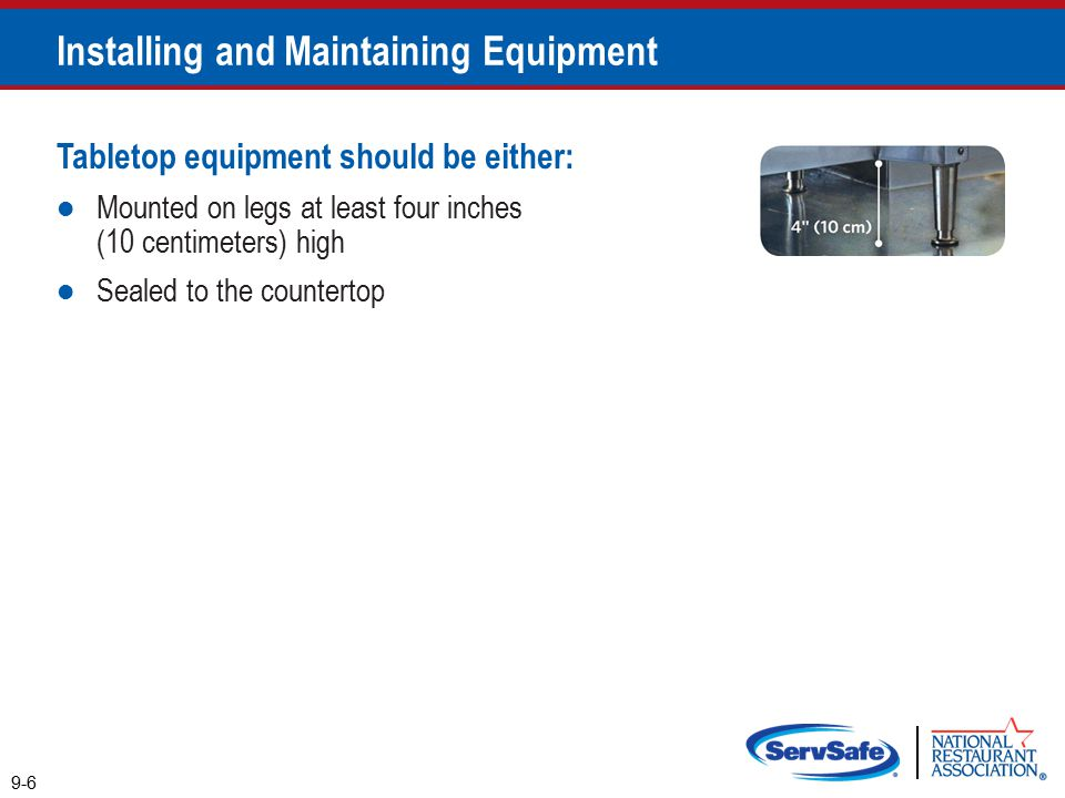 Tabletop equipment should be either: Mounted on legs at least four inches (10 centimeters) high Sealed to the countertop 9-6 Installing and Maintaining Equipment