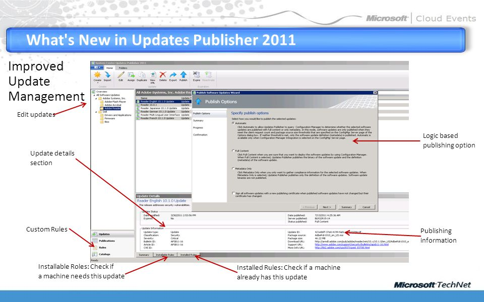 What s New in Updates Publisher 2011 Update details section Edit updates Installable Roles: Check if a machine needs this update Installed Rules: Check if a machine already has this update Publishing information Logic based publishing option Improved Update Management Custom Rules