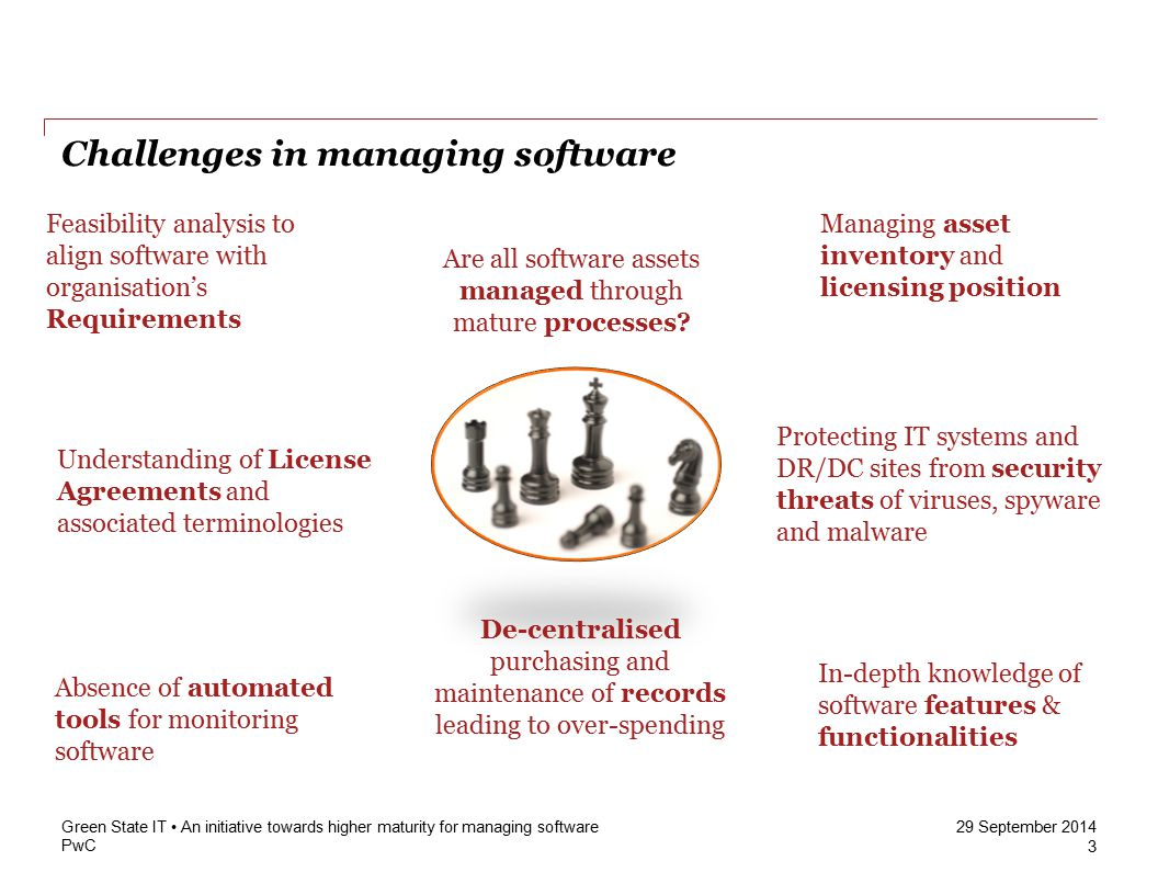 PwC 29 September 2014 Challenges in managing software 3 Green State IT An initiative towards higher maturity for managing software Absence of automated tools for monitoring software In-depth knowledge of software features & functionalities Are all software assets managed through mature processes.