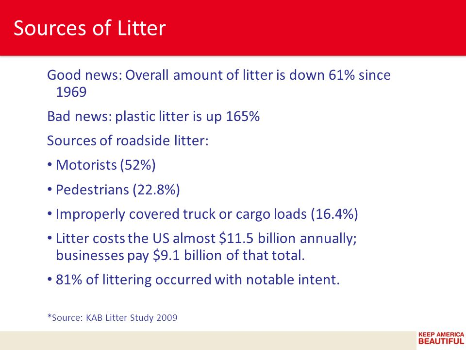 Sources of Litter Good news: Overall amount of litter is down 61% since 1969 Bad news: plastic litter is up 165% Sources of roadside litter: Motorists (52%) Pedestrians (22.8%) Improperly covered truck or cargo loads (16.4%) Litter costs the US almost $11.5 billion annually; businesses pay $9.1 billion of that total.