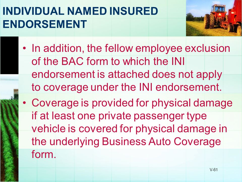 V-61 INDIVIDUAL NAMED INSURED ENDORSEMENT In addition, the fellow employee exclusion of the BAC form to which the INI endorsement is attached does not