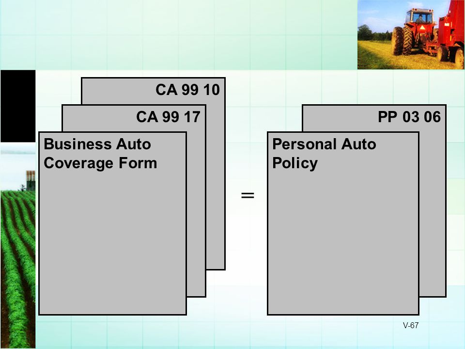 V-67 PP 03 06 CA 99 10 CA 99 17 Business Auto Coverage Form Personal Auto Policy =