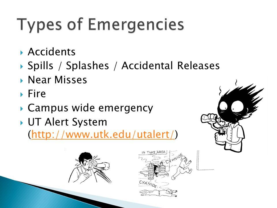  Accidents  Spills / Splashes / Accidental Releases  Near Misses  Fire  Campus wide emergency  UT Alert System (http://www.utk.edu/utalert/)http://www.utk.edu/utalert/