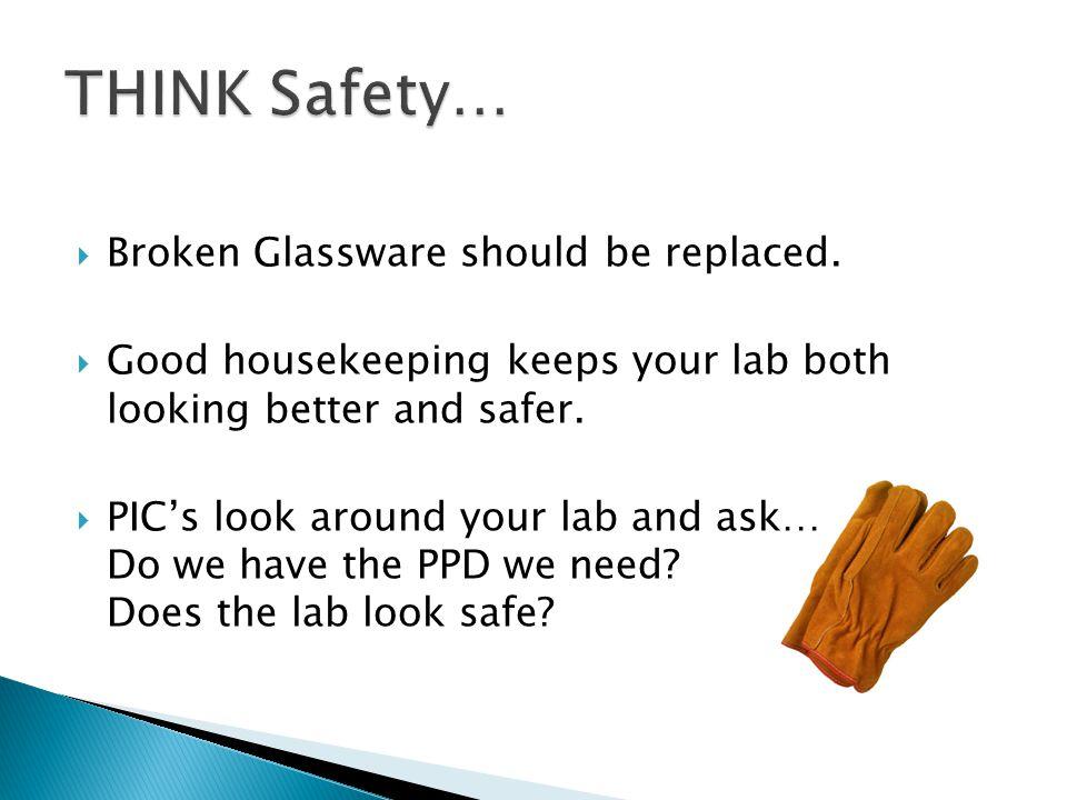  Broken Glassware should be replaced.