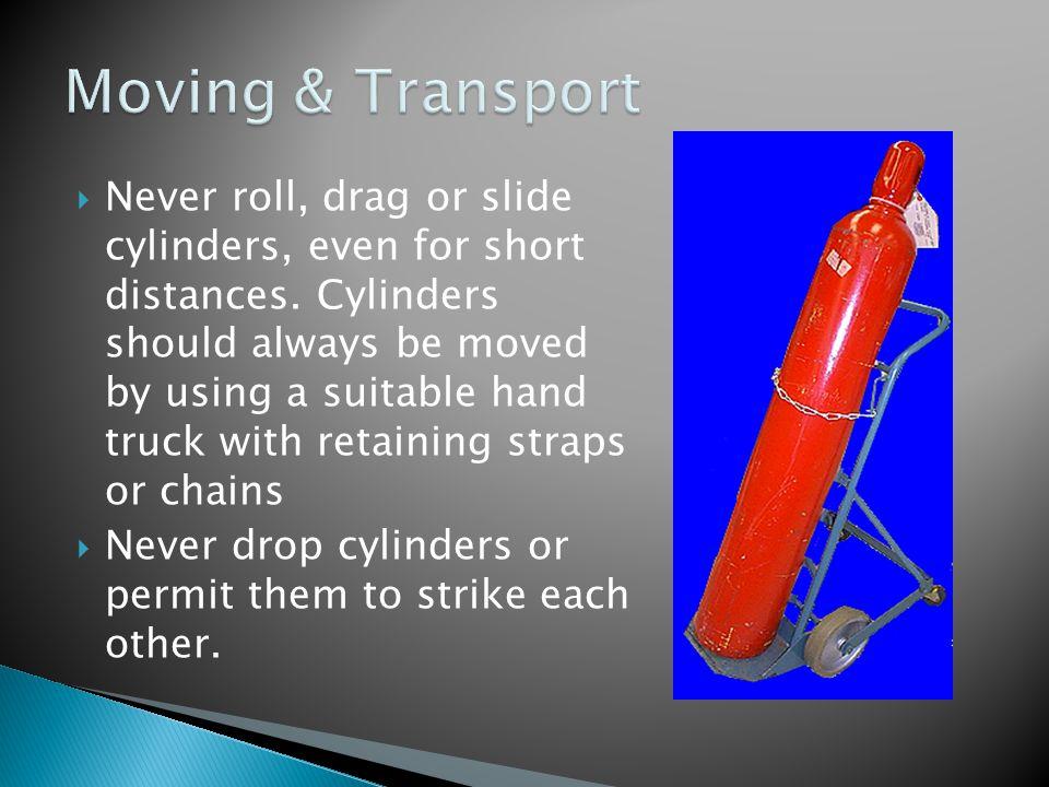  Never roll, drag or slide cylinders, even for short distances.