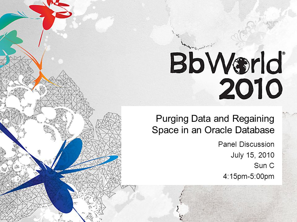 Purging Data and Regaining Space in an Oracle Database Panel Discussion July 15, 2010 Sun C 4:15pm-5:00pm
