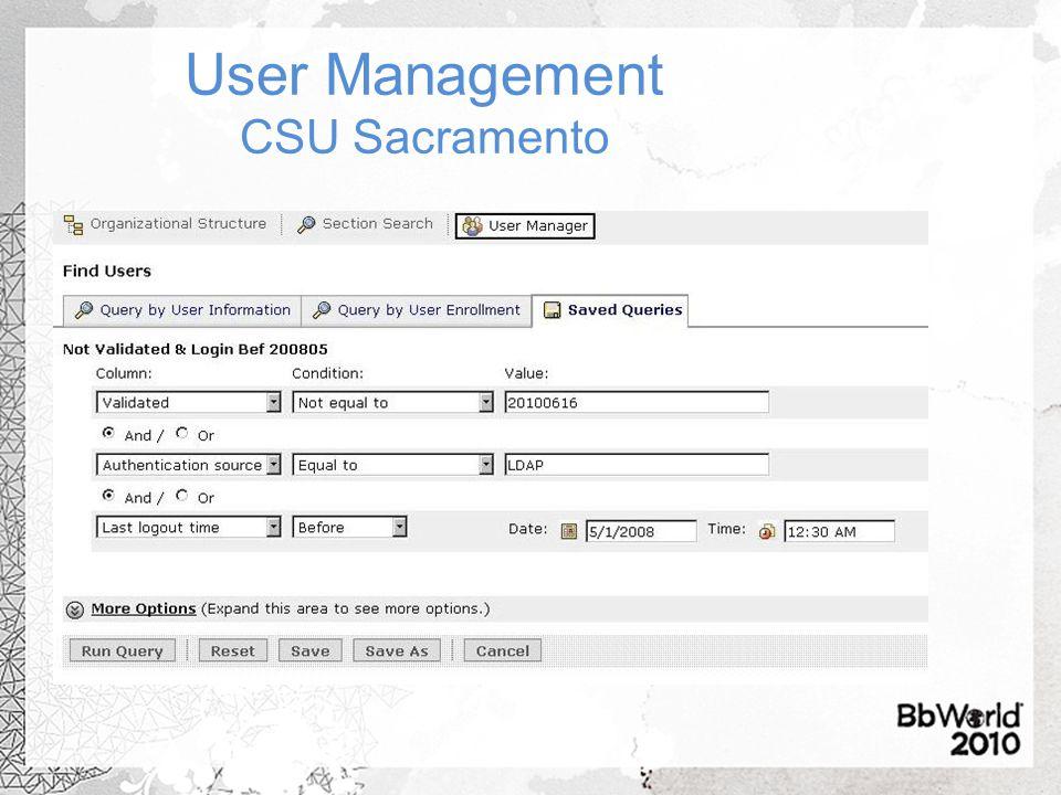 User Management CSU Sacramento