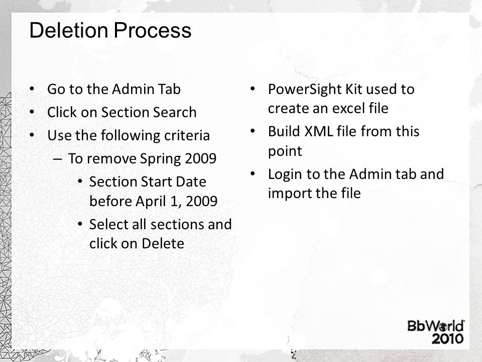 Deletion Process Go to the Admin Tab Click on Section Search Use the following criteria – To remove Spring 2009 Section Start Date before April 1, 2009 Select all sections and click on Delete PowerSight Kit used to create an excel file Build XML file from this point Login to the Admin tab and import the file