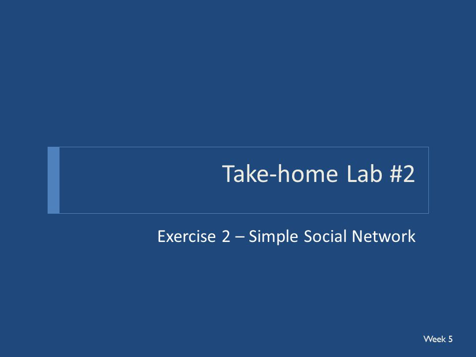 Take-home Lab #2 Exercise 2 – Simple Social Network Week 5
