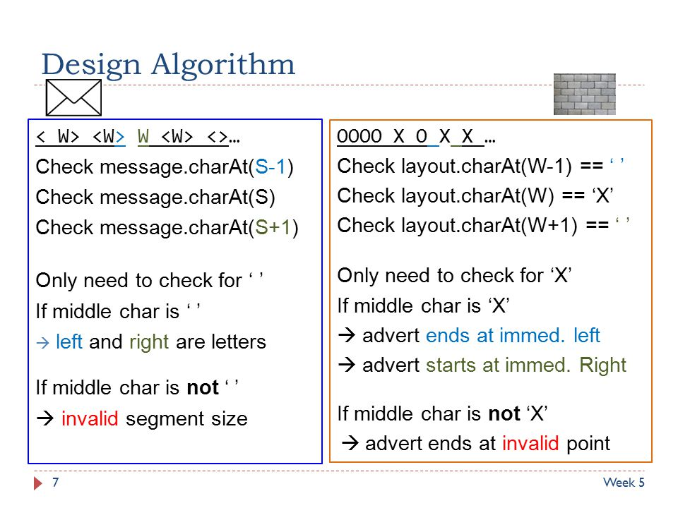 Design Algorithm W <>… Check message.charAt(S-1) Check message.charAt(S) Check message.charAt(S+1) Only need to check for ' ' If middle char is ' '  left and right are letters If middle char is not ' '  invalid segment size OOOO X O X X … Check layout.charAt(W-1) == ' ' Check layout.charAt(W) == 'X' Check layout.charAt(W+1) == ' ' Only need to check for 'X' If middle char is 'X'  advert ends at immed.