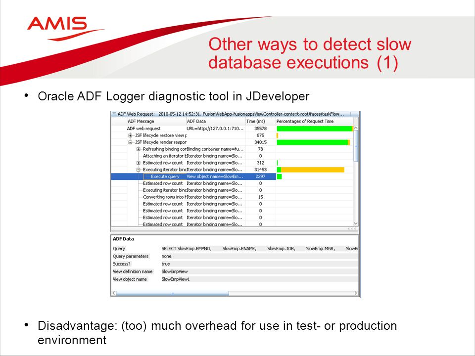 Other ways to detect slow database executions (2) Set up a database trace - Queries from database perspective -Disadvantage: you don't see the executions from ADF application's perspective – it is often not easy to relate a database trace to ADF executions -Performance overhead