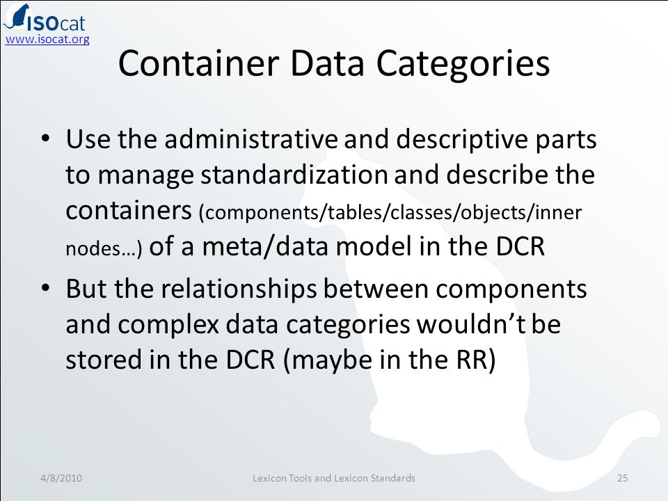 www.isocat.org Container Data Categories Use the administrative and descriptive parts to manage standardization and describe the containers (components/tables/classes/objects/inner nodes…) of a meta/data model in the DCR But the relationships between components and complex data categories wouldn't be stored in the DCR (maybe in the RR) 4/8/2010Lexicon Tools and Lexicon Standards25