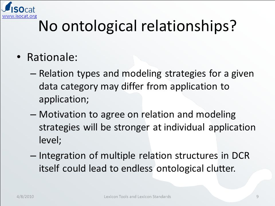 www.isocat.org No ontological relationships.