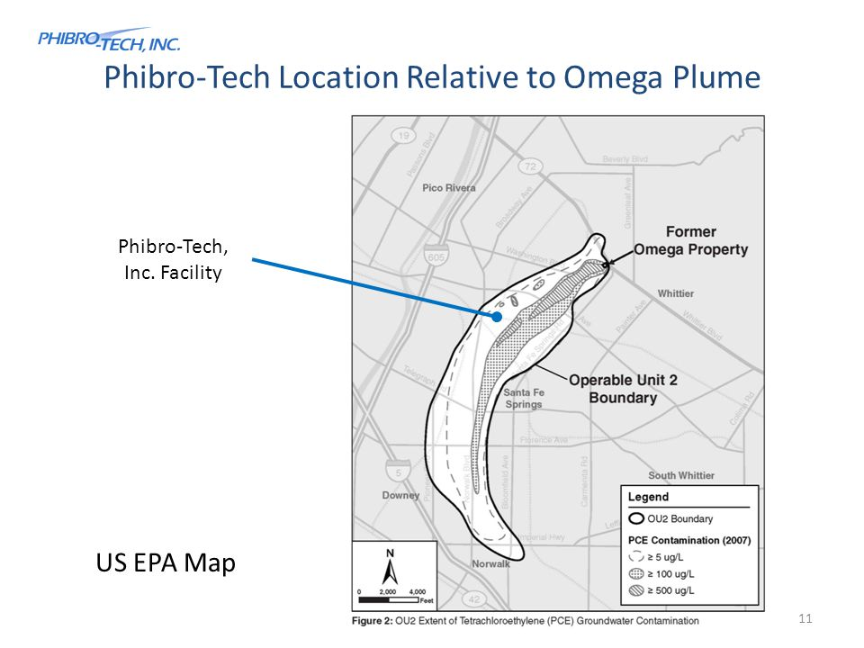 Phibro-Tech Location Relative to Omega Plume Phibro-Tech, Inc. Facility US EPA Map 11