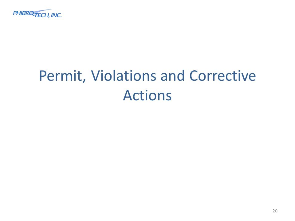 Permit, Violations and Corrective Actions 20