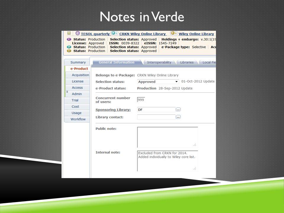 Notes in Verde