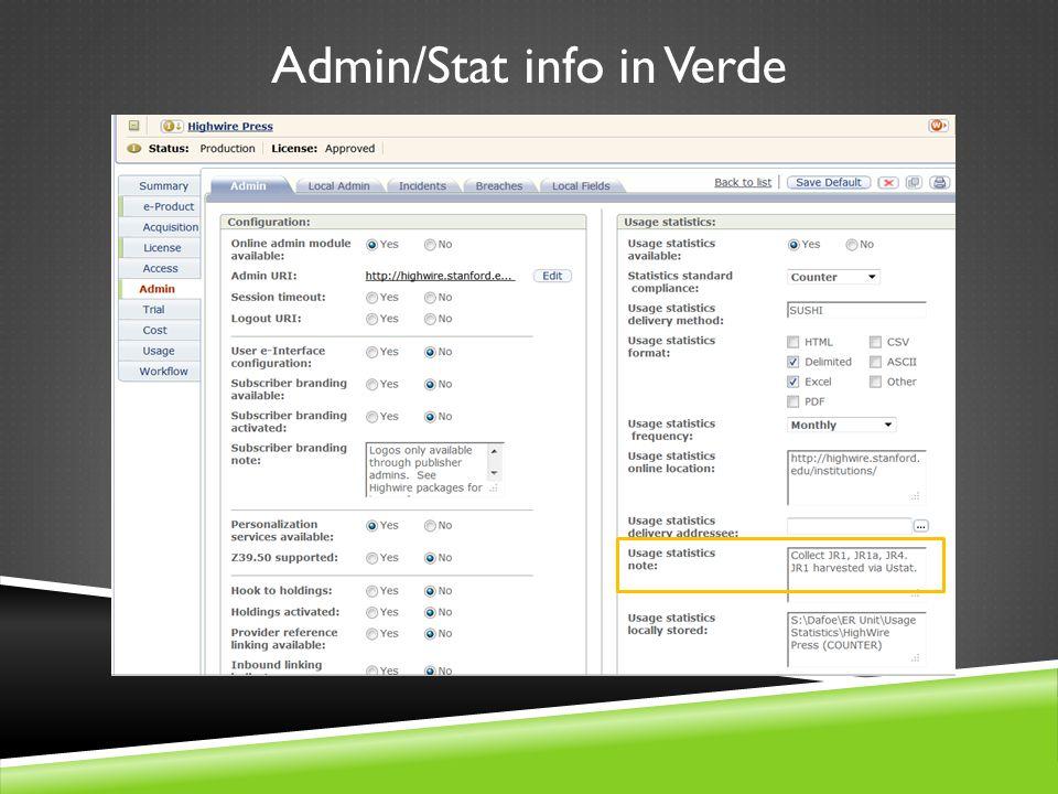 Admin/Stat info in Verde