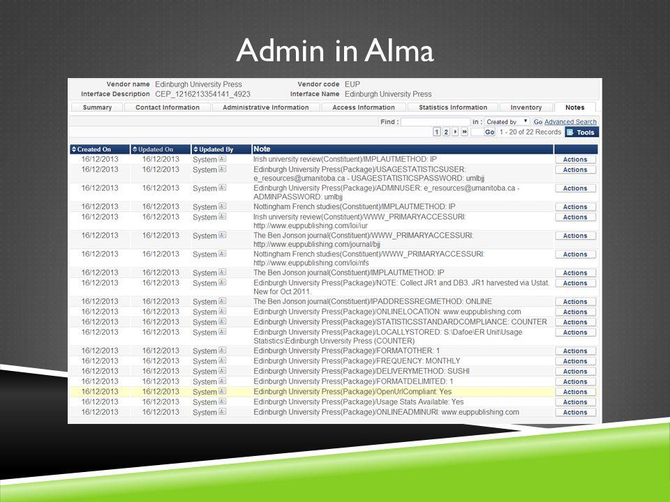 Admin in Alma