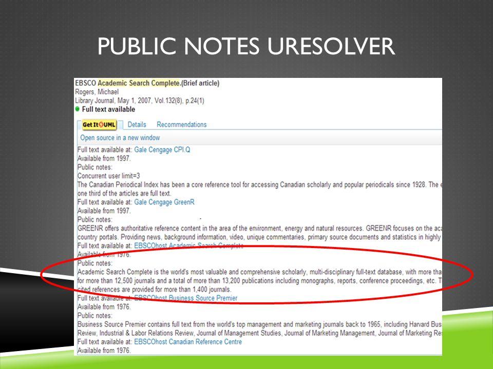 PUBLIC NOTES URESOLVER