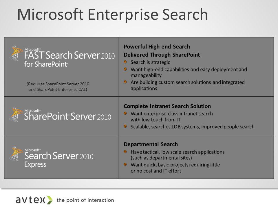 Microsoft Enterprise Search (Requires SharePoint Server 2010 and SharePoint Enterprise CAL)