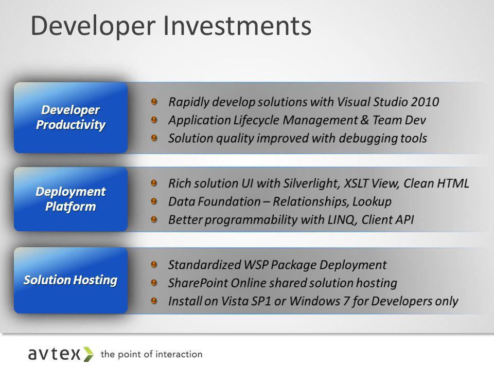 Developer Investments Solution Hosting Deployment Platform Developer Productivity