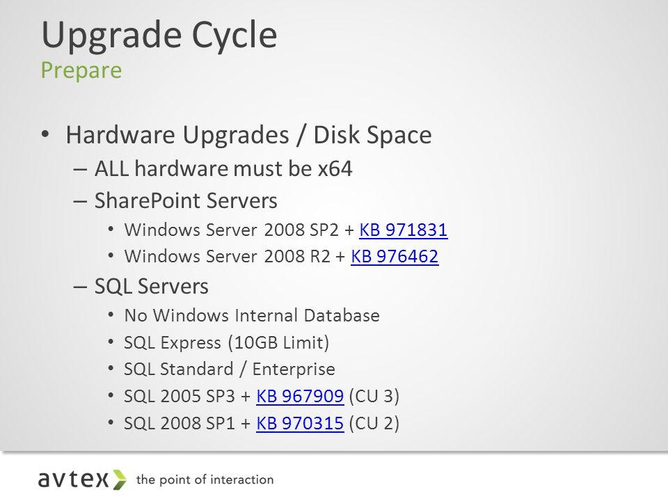 Upgrade Cycle Prepare Hardware Upgrades / Disk Space – ALL hardware must be x64 – SharePoint Servers Windows Server 2008 SP2 + KB 971831KB 971831 Windows Server 2008 R2 + KB 976462KB 976462 – SQL Servers No Windows Internal Database SQL Express (10GB Limit) SQL Standard / Enterprise SQL 2005 SP3 + KB 967909 (CU 3)KB 967909 SQL 2008 SP1 + KB 970315 (CU 2)KB 970315