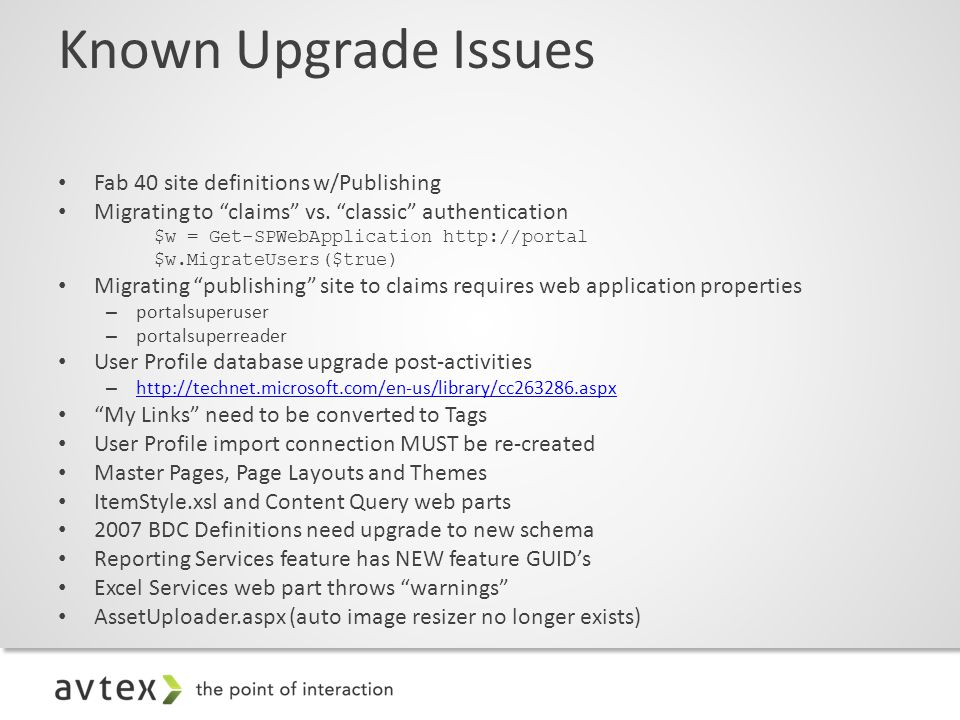 Known Upgrade Issues Fab 40 site definitions w/Publishing Migrating to claims vs.