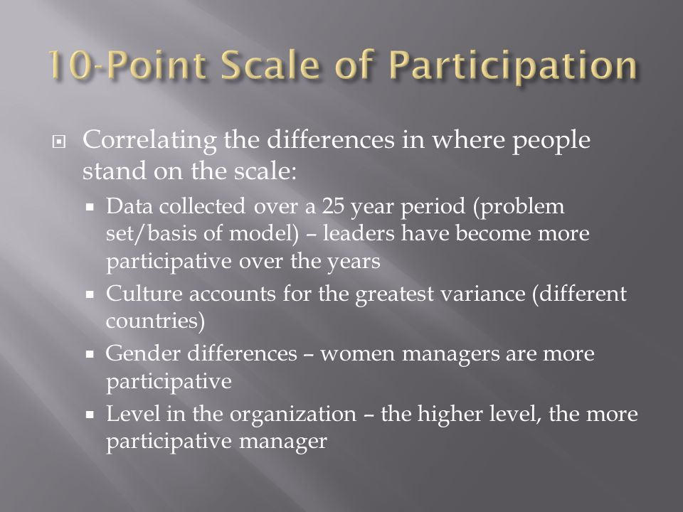  Correlating the differences in where people stand on the scale:  Data collected over a 25 year period (problem set/basis of model) – leaders have become more participative over the years  Culture accounts for the greatest variance (different countries)  Gender differences – women managers are more participative  Level in the organization – the higher level, the more participative manager