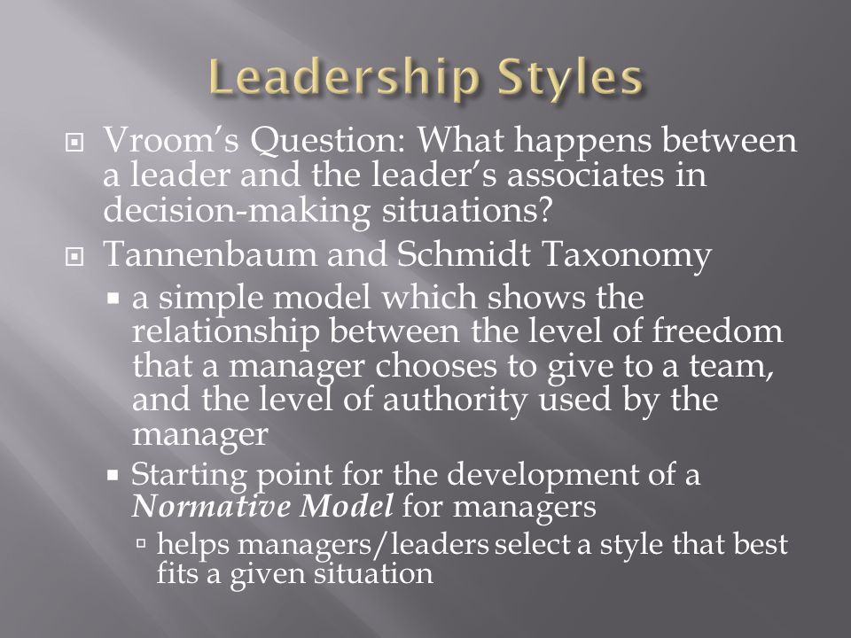  Vroom's Question: What happens between a leader and the leader's associates in decision-making situations.