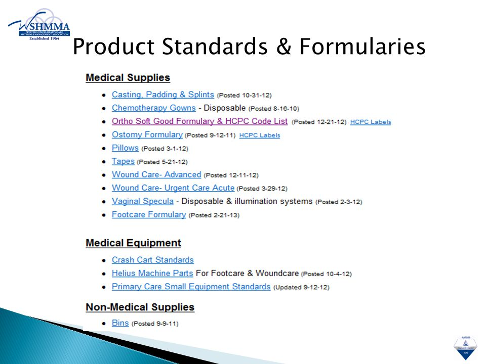 Product Standards & Formularies