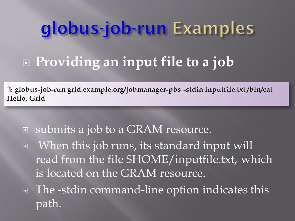  Providing an input file to a job  submits a job to a GRAM resource.