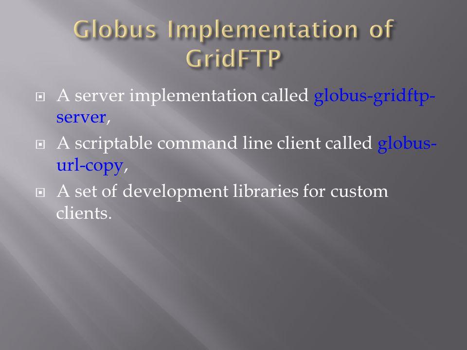  A server implementation called globus-gridftp- server,  A scriptable command line client called globus- url-copy,  A set of development libraries for custom clients.