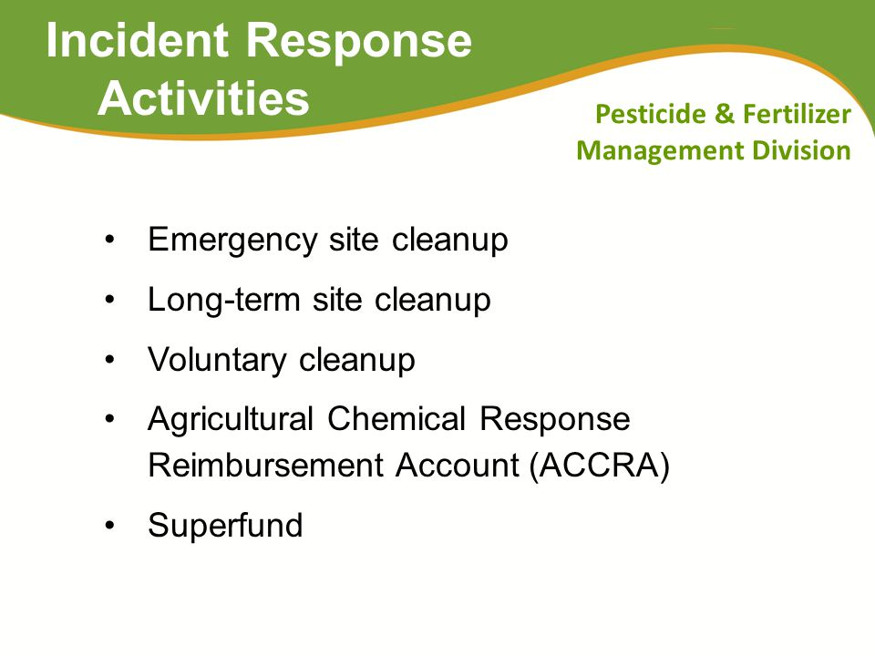 Pesticide & Fertilizer Management Division Non-Point Source Programs MDA is responsible for addressing: Non-point source impacts to groundwater from nitrate from fertilizer Non-point source impacts to surface water and groundwater from pesticides Other health or environmental risks from pesticides Water quality monitoring for pesticides and nitrate