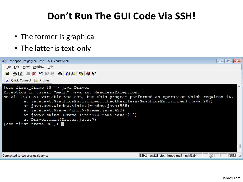 James Tam Don't Run The GUI Code Via SSH! The former is graphical The latter is text-only