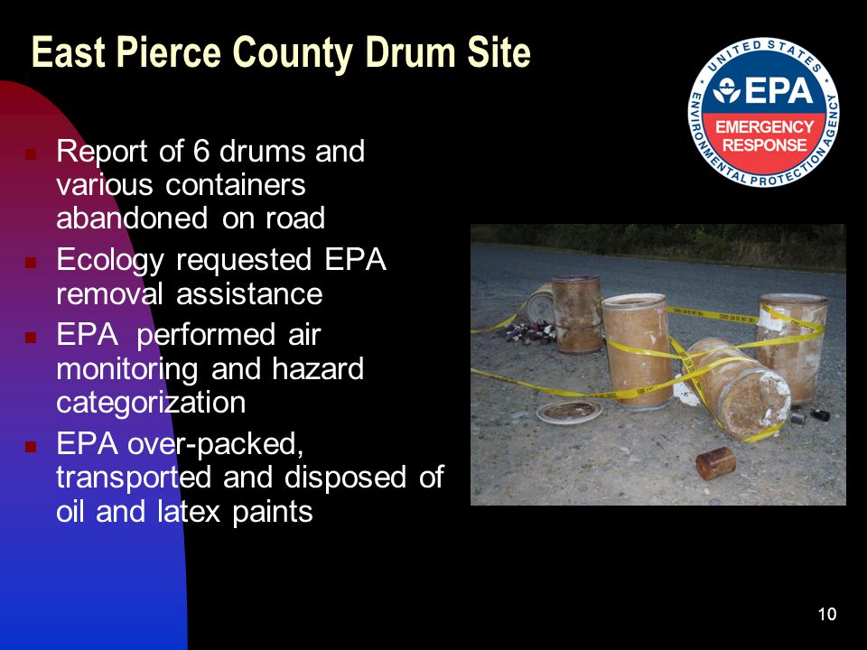 10 East Pierce County Drum Site Report of 6 drums and various containers abandoned on road Ecology requested EPA removal assistance EPA performed air monitoring and hazard categorization EPA over-packed, transported and disposed of oil and latex paints