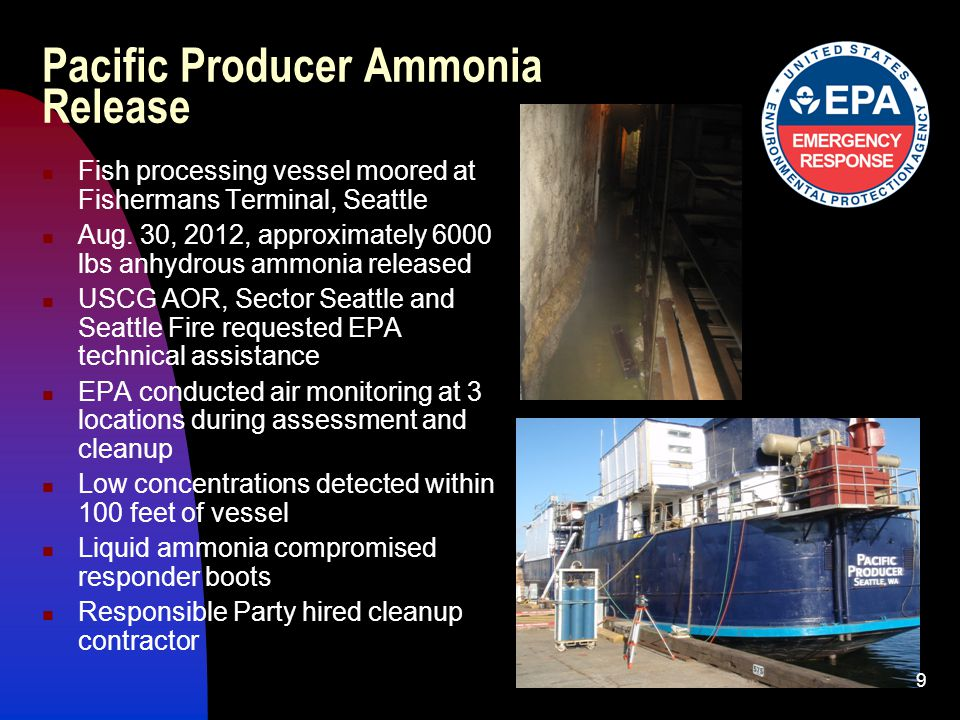 Pacific Producer Ammonia Release Fish processing vessel moored at Fishermans Terminal, Seattle Aug.