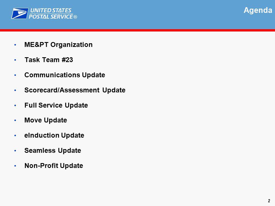 ® Agenda ME&PT Organization Task Team #23 Communications Update Scorecard/Assessment Update Full Service Update Move Update eInduction Update Seamless Update Non-Profit Update 2