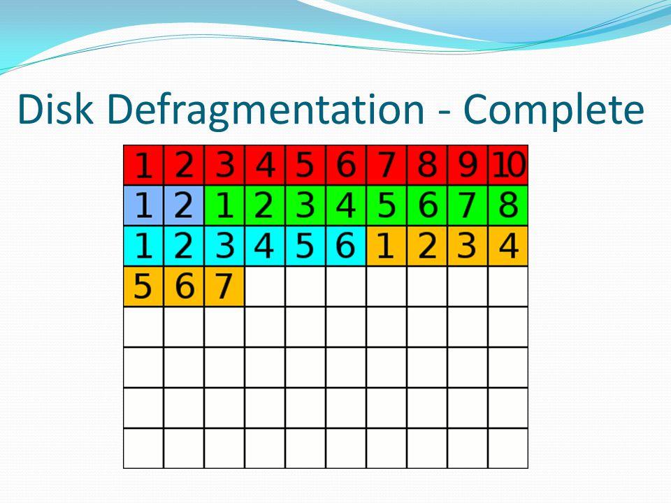 Disk Defragmentation - Complete