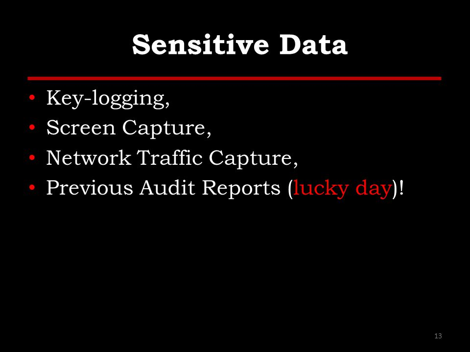 Sensitive Data Key-logging, Screen Capture, Network Traffic Capture, Previous Audit Reports (lucky day).