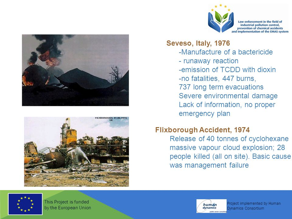 This Project is funded by the European Union Project implemented by Human Dynamics Consortium 4 Seveso, Italy, 1976 -Manufacture of a bactericide - ru