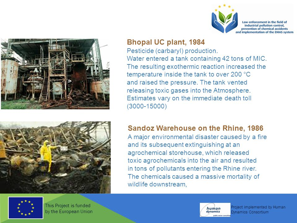 This Project is funded by the European Union Project implemented by Human Dynamics Consortium Bhopal UC plant, 1984 Pesticide (carbaryl) production. W