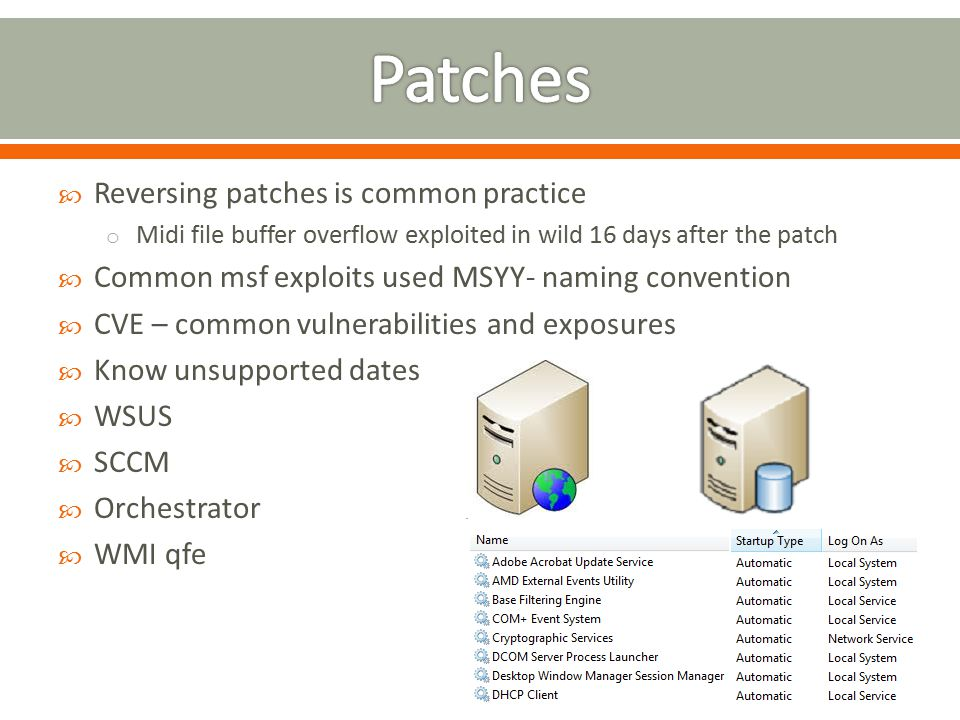  Reversing patches is common practice o Midi file buffer overflow exploited in wild 16 days after the patch  Common msf exploits used MSYY- naming c