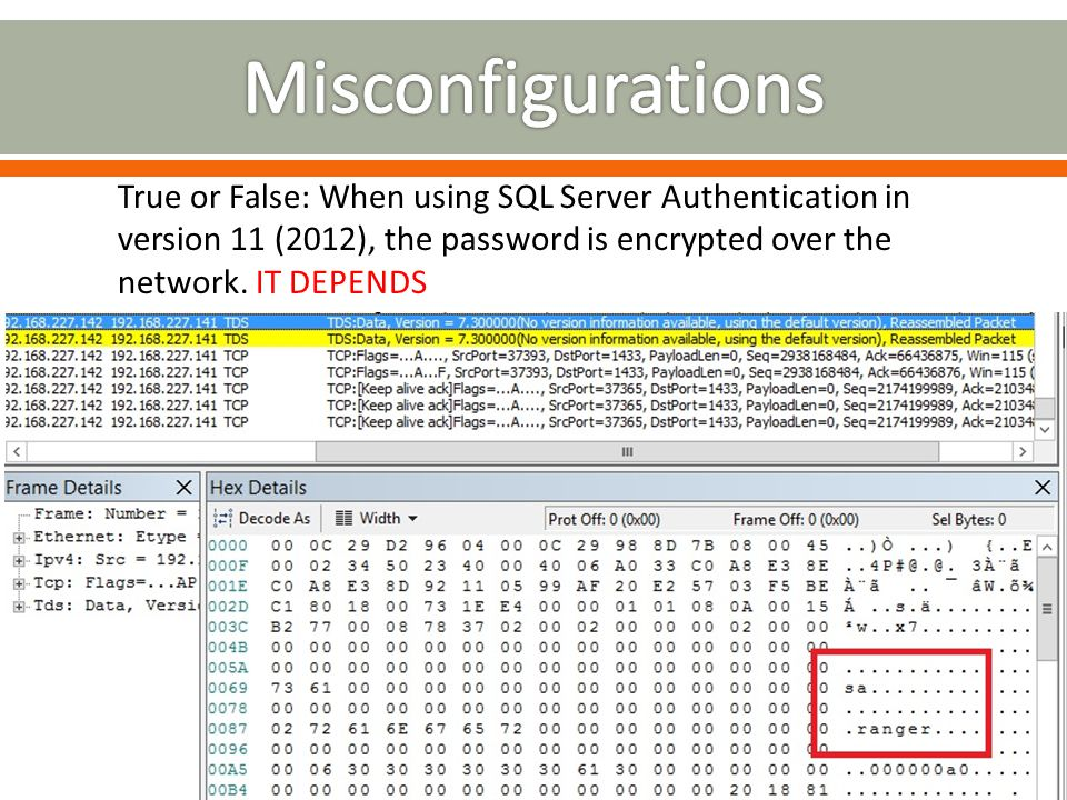 True or False: When using SQL Server Authentication in version 11 (2012), the password is encrypted over the network. IT DEPENDS